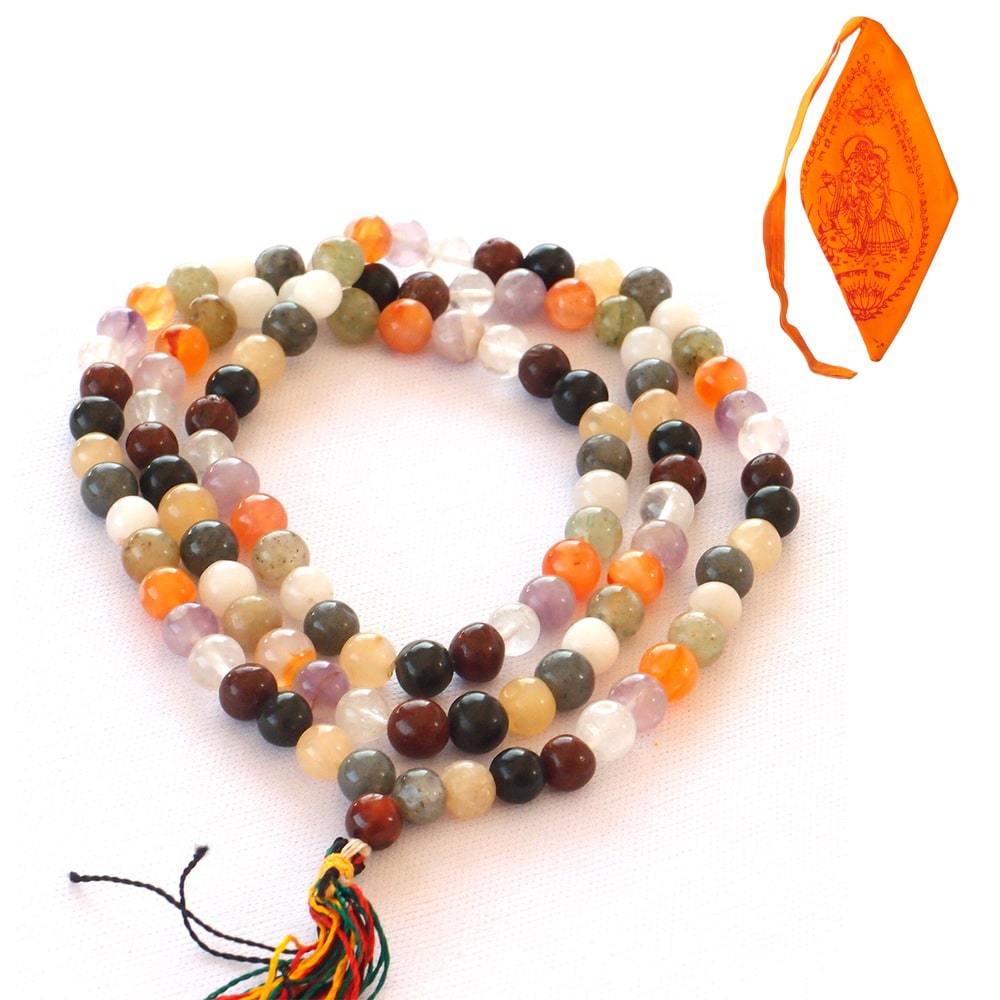 Mala Beads - 9 Planet Astrological With Saffron Mala Bag