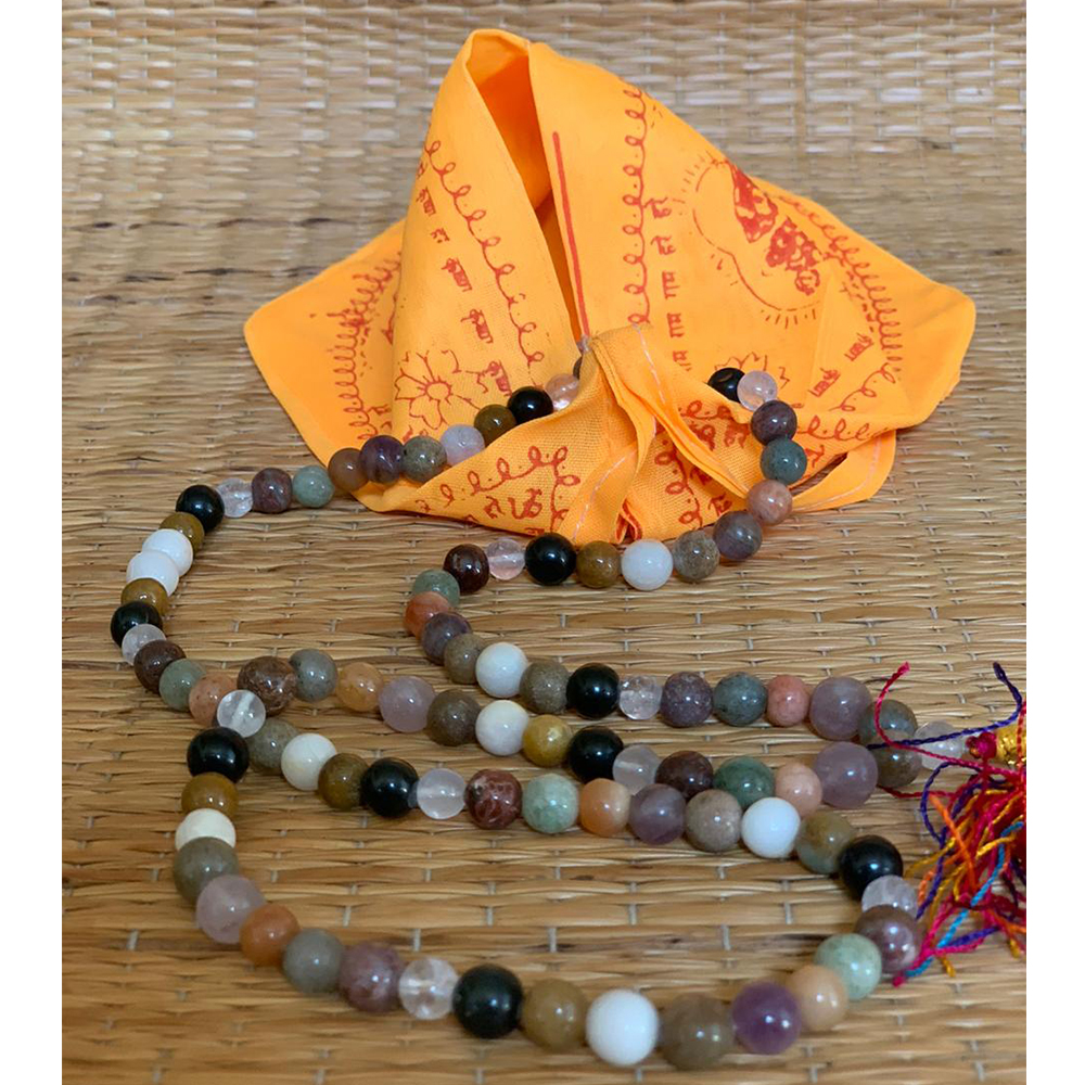 9 Planet Astrological Mala Beads With Saffron Mala Bag