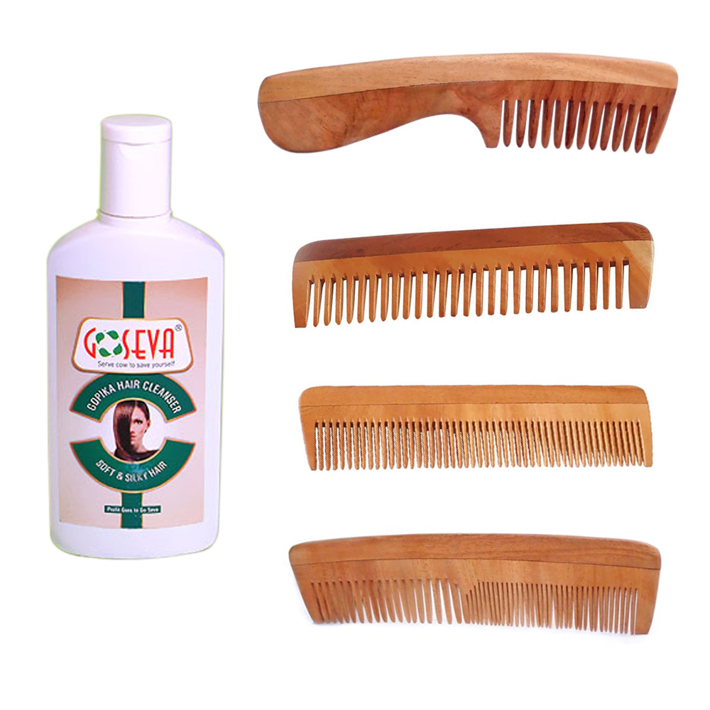 Gopika Hair Shampoo Cleanser + Neem Wood Comb