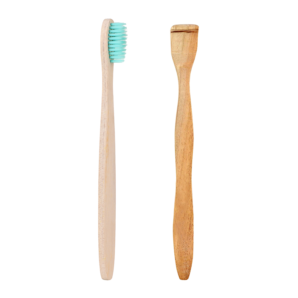 Organic Wood Toothbrush Aqua + Neem Wood Tongue Scraper