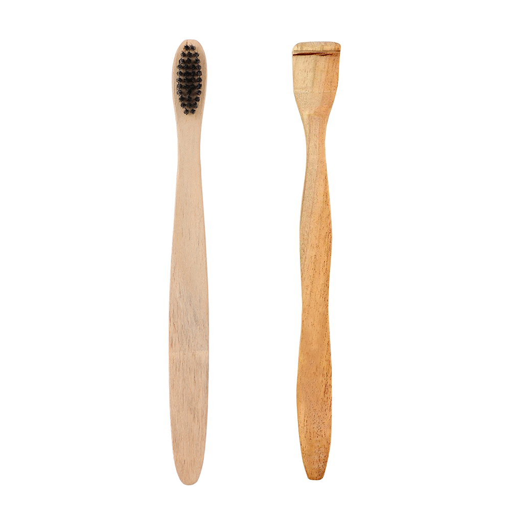 Organic Wood Toothbrush Black + Neem Wood Tongue Scraper