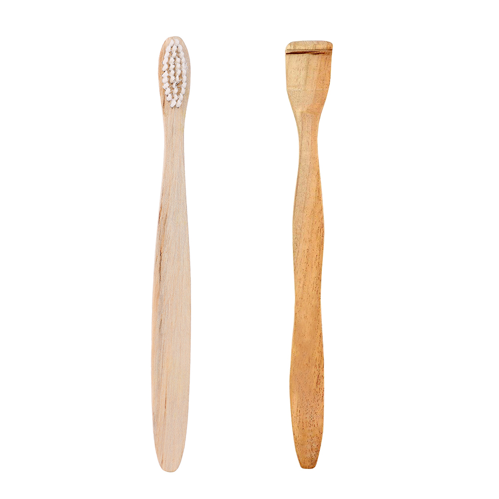 Organic Wood Toothbrush White + Neem Wood Tongue Scraper