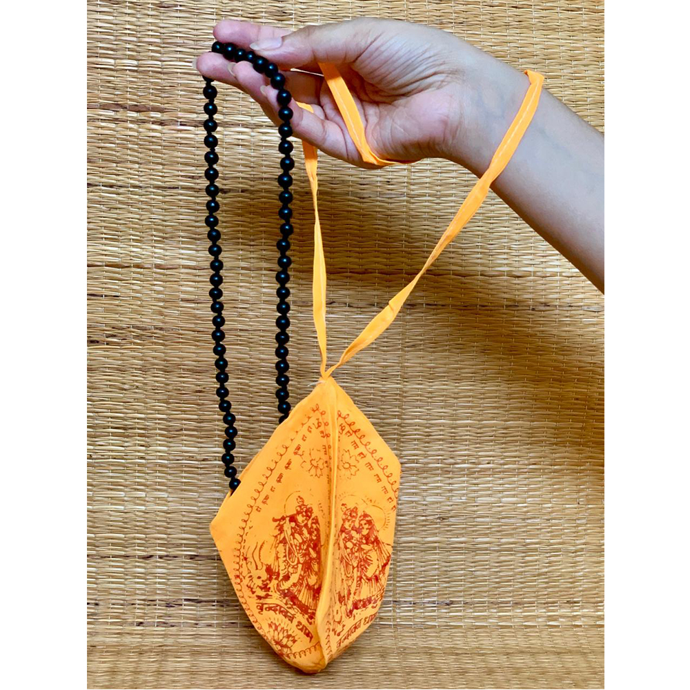 Ebony Mala With Saffron Mala Bag