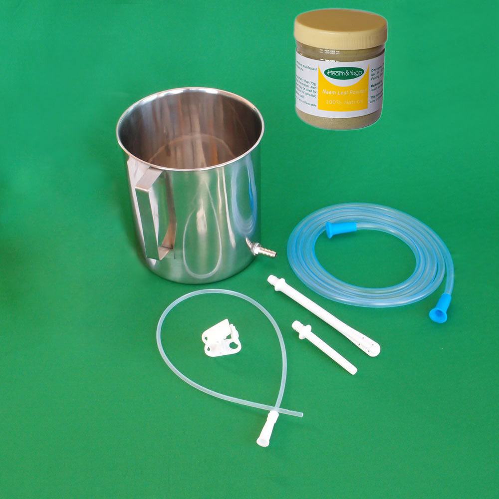 Enema Equipment + Neem Leaf Powder