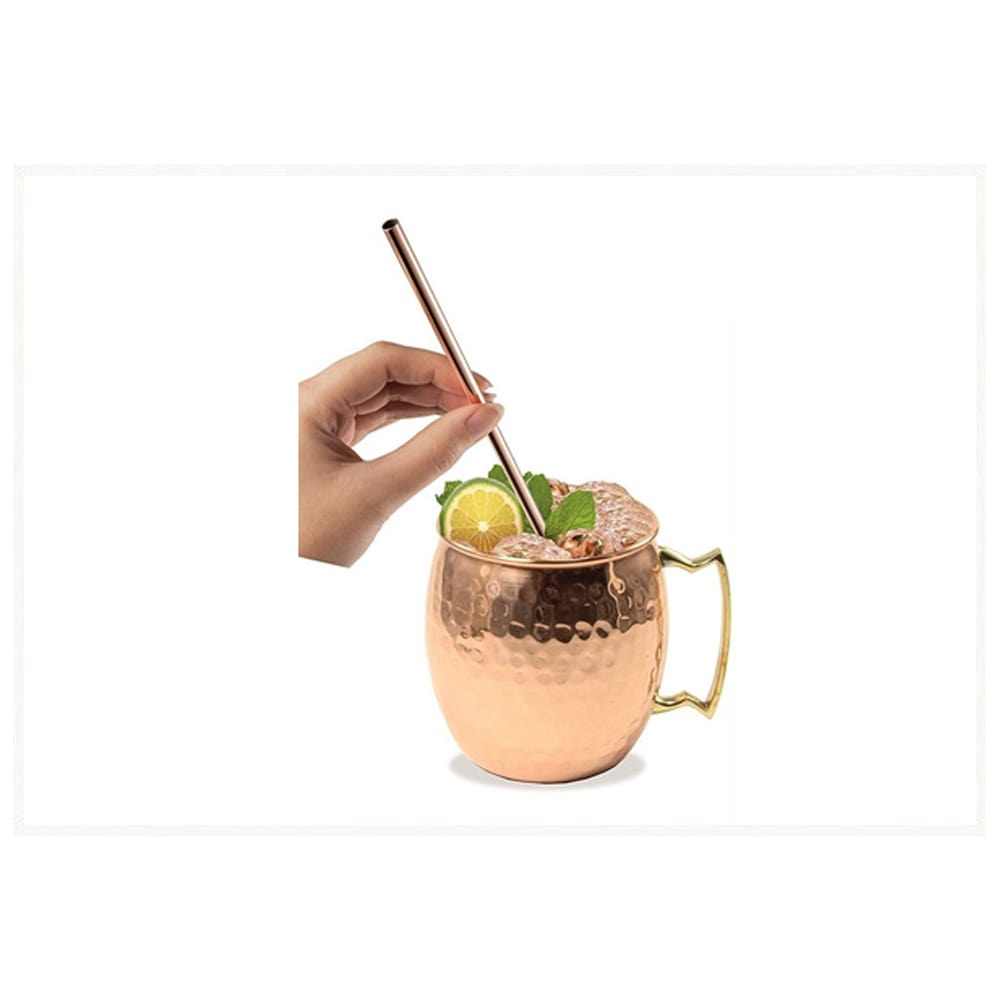 Pure Copper Mug With Straw