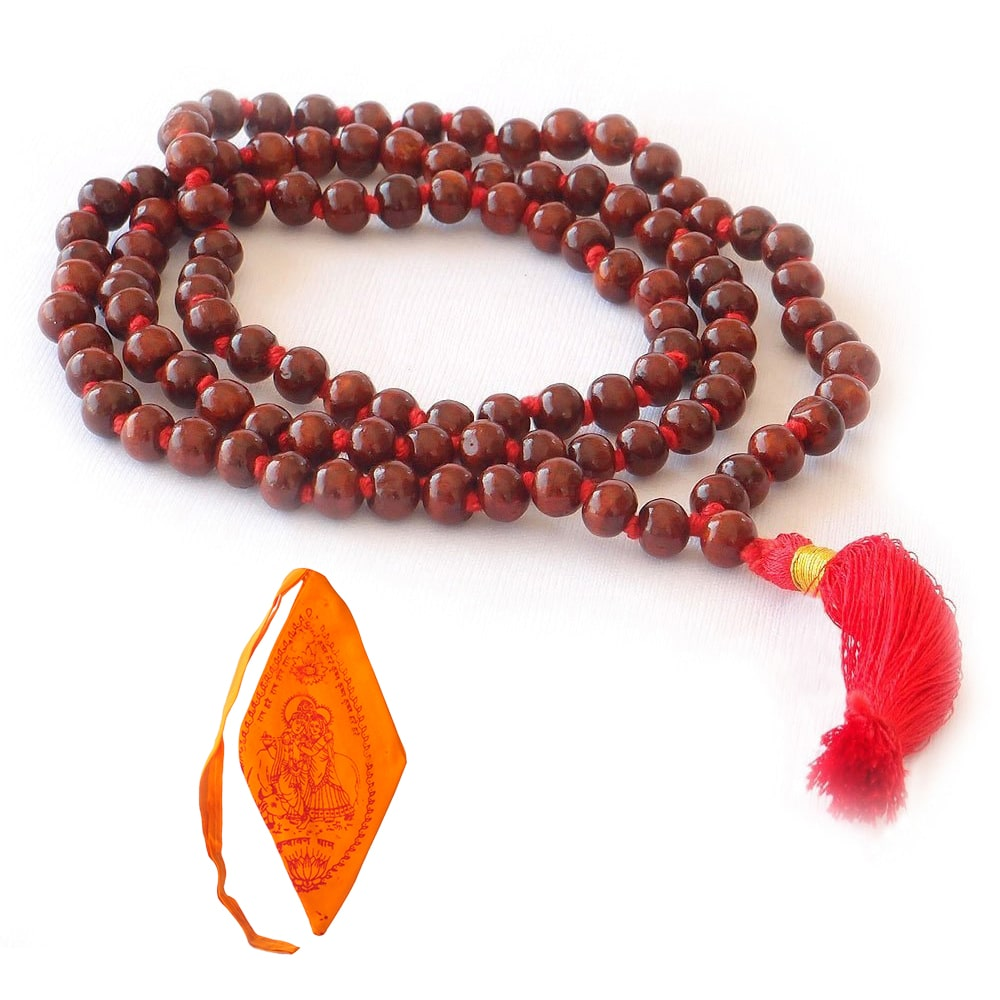 Rose Wood Mala With Saffron Mala Bag