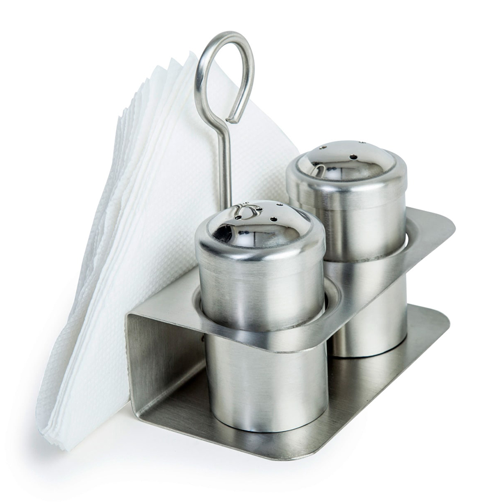 Salt & Pepper Set with Napkin Holder