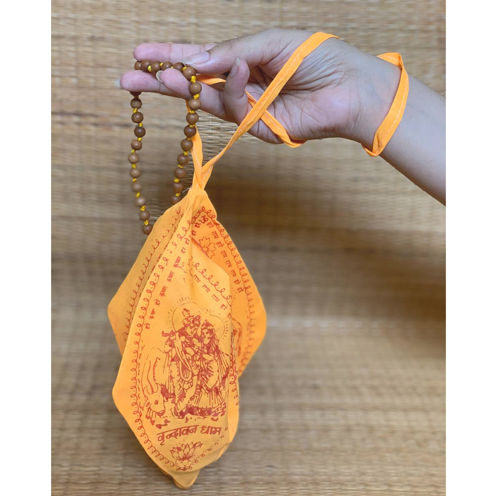 Sandalwood Mala With Saffron Mala Bag