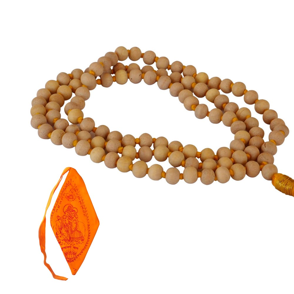 Mala Beads - Superior Grade Tulsi Wood With Saffron Mala Bag