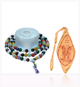9-Planet Astrological Mala + Bag ( Saffron Mala Bag )