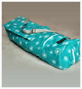 Teal and White Dandelion Patterned Yoga Mat Bag
