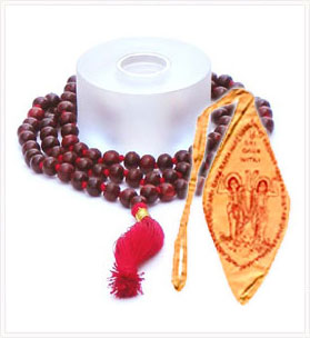 Rose Wood Mala + Bag ( Saffron Mala Bag )