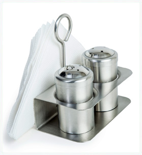 3 in 1 Salt & Pepper Set with Napkin Holder