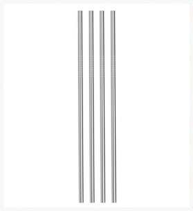 Stainless steel Reusable straws Straight Set of 4